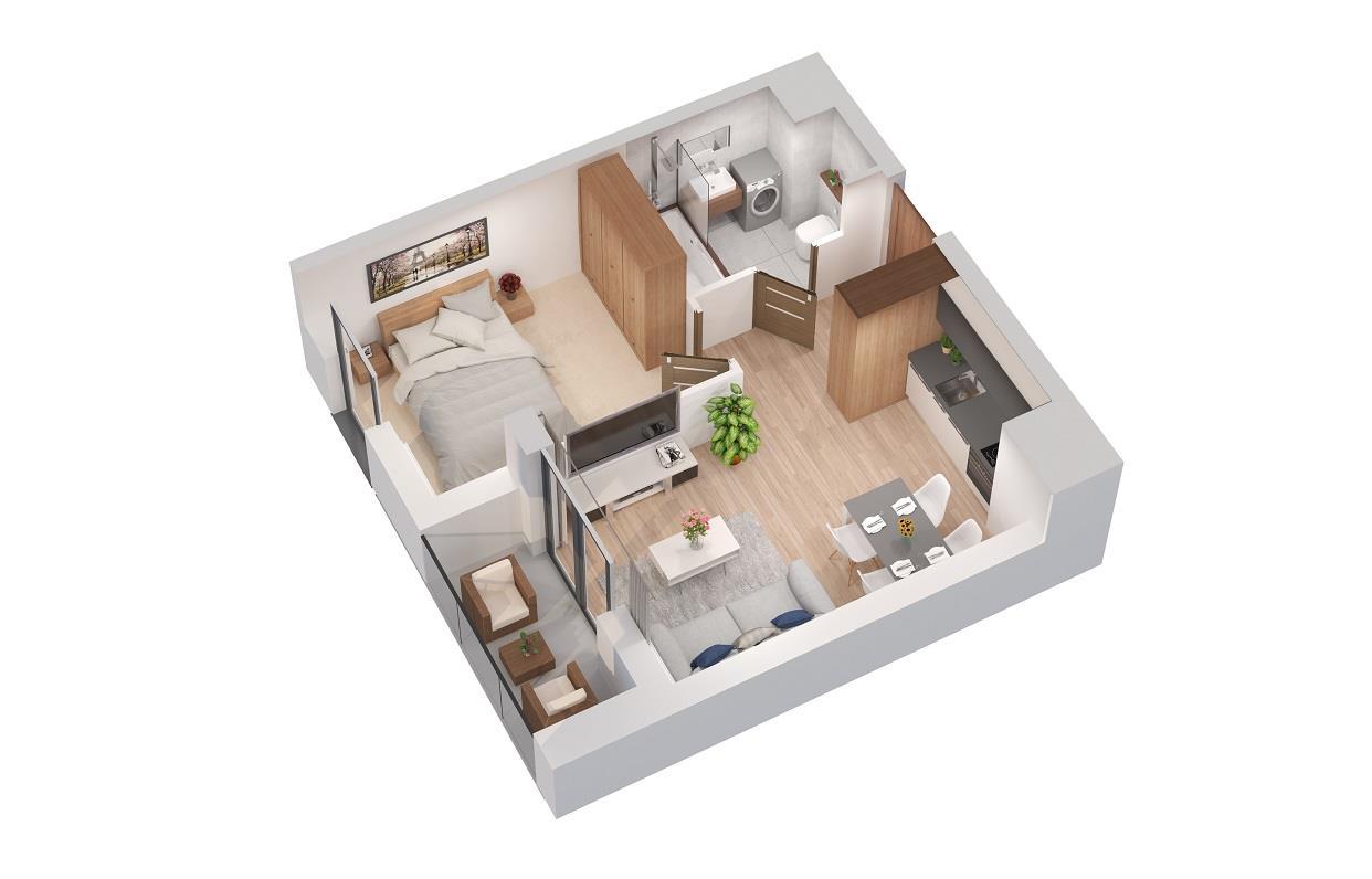 Rzut mieszkania: 3.B.92