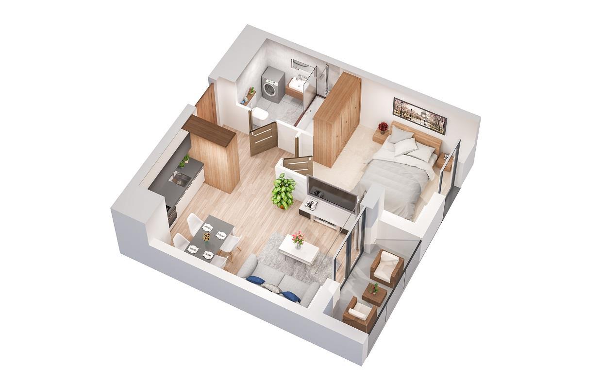 Rzut mieszkania: 3.B.94