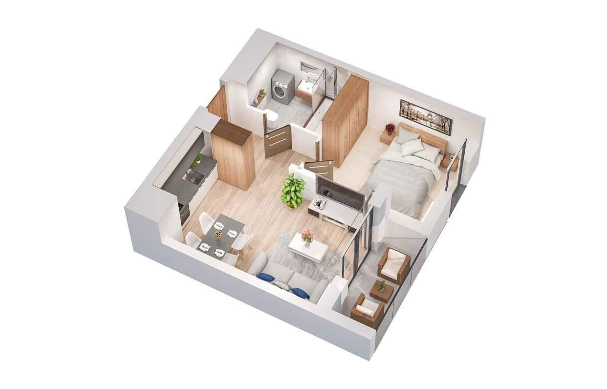 Rzut mieszkania: 3.B.96